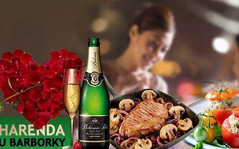 Romantická VEČEŘE za luxusních 185 Kč! Rajčátko plněné drůbežím salátem, krůtí steak obložený hlavičkami žampiónů, podávaný s hruškou plněnou ovocným ragů, lívaneček s lesním ovocem a sekt! Super sleva 40%