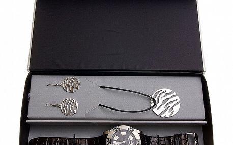 Dámska darčeková sada Axcent - čierno-strieborné hodinky a náhrdelník s náušnicami
