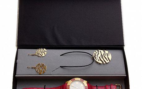 Dámska darčeková sada Axcent - červeno-zlaté hodinky a náhrdelník s náušnicami