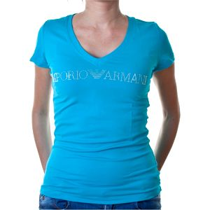 Dámské triko Emporio Armani tyrkysové Logo potisk