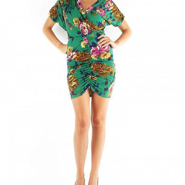 Dámske zelené šaty Fifilles de Paris s kvetinovou potlačou