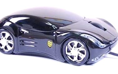 Optická myš ve tvaru osobního automobilu se svítícími předními a zadními světly ACUTAKE Extreme Racing BK1.