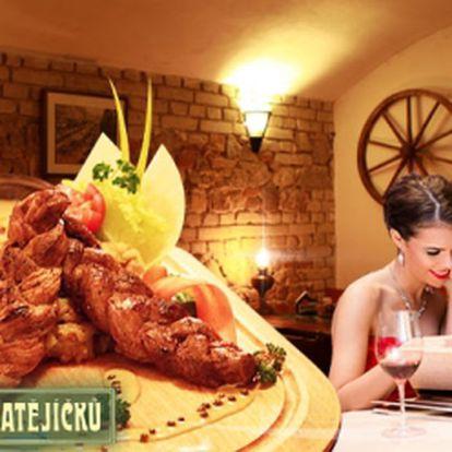 Pořádná porce večeře v centru Prahy v restauraci U Matějíčků za jedinečných 114 Kč! 1x vepřový pletenec z PANENSKÉ SVÍČKOVÉ na lávovém grilu s HOŘČIČNOSMETANOVOU OMÁČKOU, zeleným pepřem a PŘÍLOHOU! Sleva 49%!