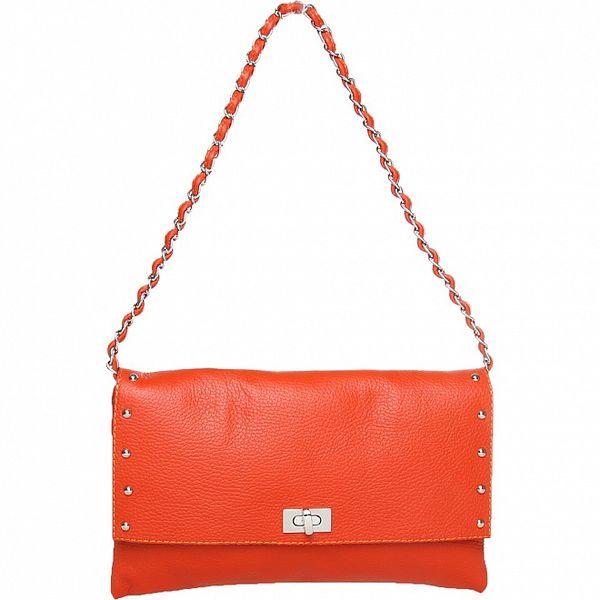 Dámska oranžová kabelka Made in Italia s kovovými cvokmi