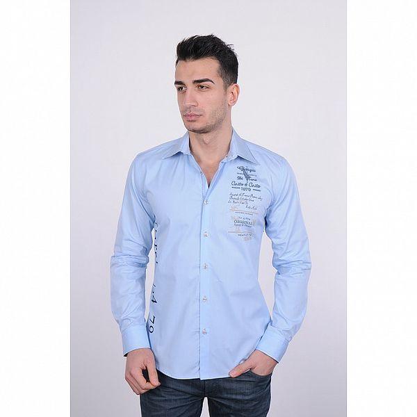 Pánska svetlo modrá košeľa Giorgio di Mare s modrou potlačou