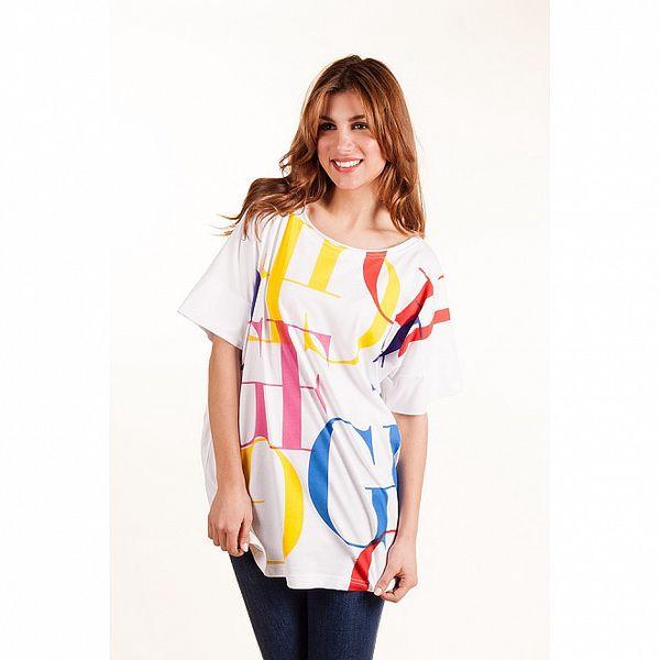 Dámské bílé oversized tričko Gianfranco Ferré s barevným potiskem