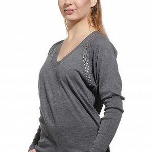 Dámsky šedý sveter Replay s kovovými cvokmi