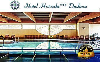 3 alebo 5-dňový pobyt pre 2 osoby s polpenziou, masážami, vírivkou a neobmedzeným vstupom do bazéna v hoteli Hviezda*** v kúpeľnom meste Dudince so zľavou do 63%!