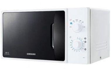 Mikrovlnná trouba Samsung ME 71 A. Výkon 800 W, 7 úrovní výkonu, 4 programy na rozmrazování.