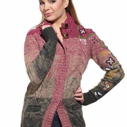 Dámsky ružovo-zelený prúžkovaný sveter Replay