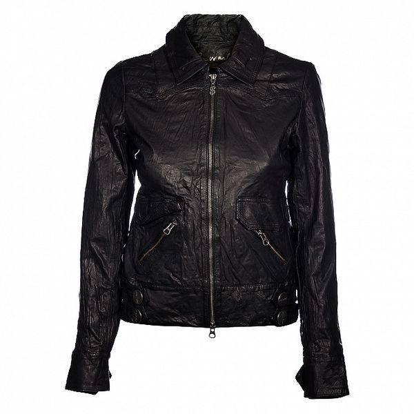 Dámska čierna kožená bunda Pepe Jeans s pokrčeným efektom