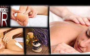 VÝBĚR ZE TŘÍ DRUHŮ MASÁŽÍ v délce 60 minut se slevou 63 %: Zvolíte aroma masáž zad a šíje teplým vonným olejem nebo sportovně-rekondiční masáž zad a šíje či relaxační masáž zad, šíje a chodidel.