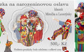 Pozvěte dětem na narozeninovou oslavu klauna Mirečka a Leontýnku - na výběr bublinková show, malování na obličej, tvarování balónků, interaktivní diskotéka a mnoho dalšího! Dárkový poukaz na oslavu s klaunem Mirečkem v hodnotě 500 Kč.