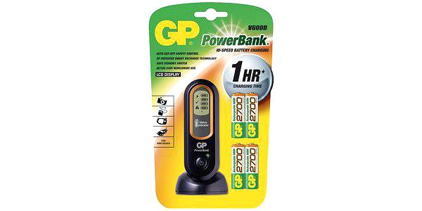 GP nabíječka Power Bank V600 +4xGP2700 mAh