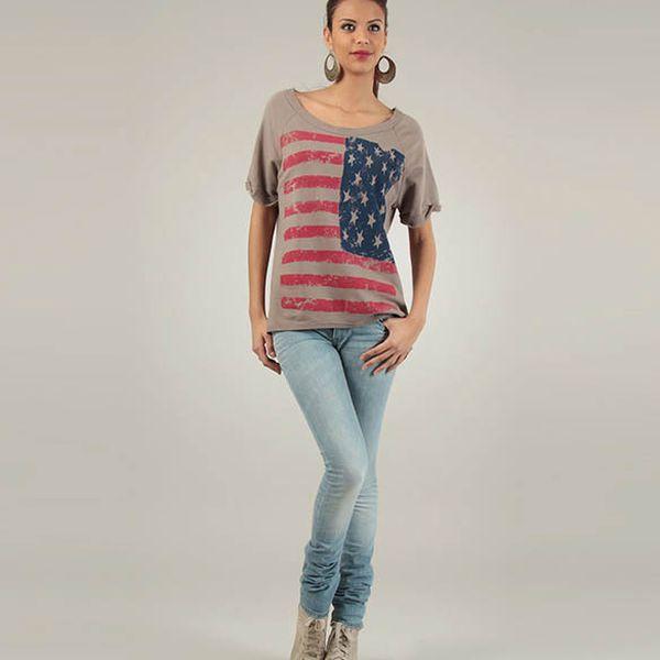 Dámske hnedé tričko Lilly´s Mood s americkou vlajkou