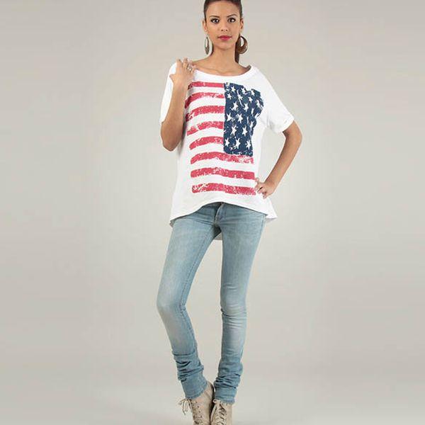 Dámske biele tričko Lilly´s Mood s americkou vlajkou