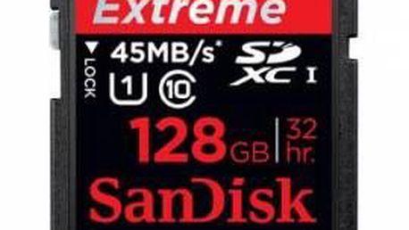Extrémně rychlá falsh karta SanDisk SDXC Extreme class 10 128 GB
