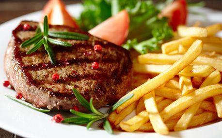 Bravčový či kurací steak s prílohou podľa vlastného výberu + sladká palacinka spolu len za 4,50 €! Pozvite blízkych na skvelý obed či večeru!
