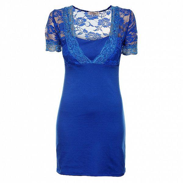 Dámské zářivě modré pouzdrové šaty Love Red s krajkou