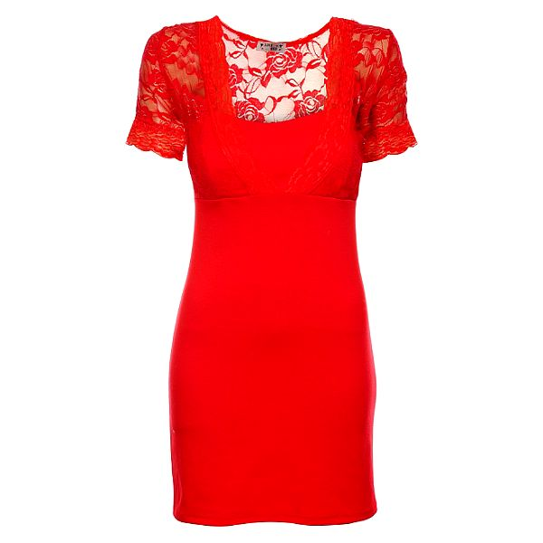 Dámske červené púzdrové šaty Love Red s čipkou
