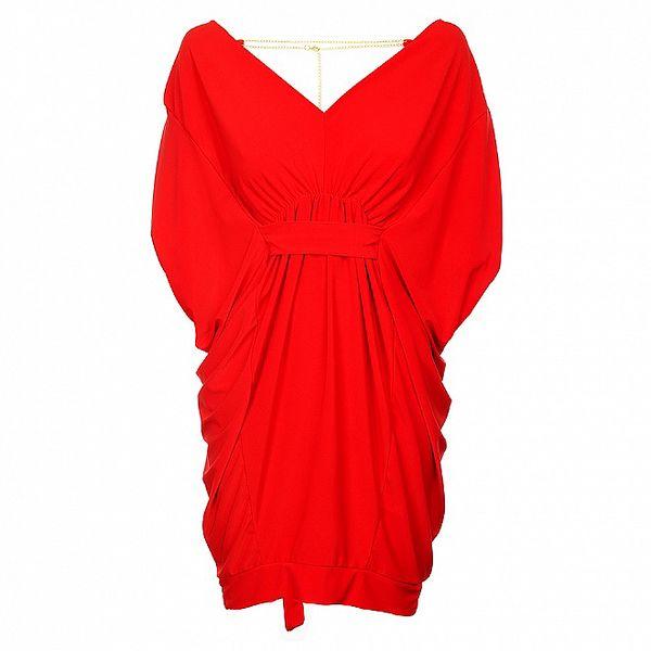 Dámske červené šaty Love Red so zlatou retiazkou