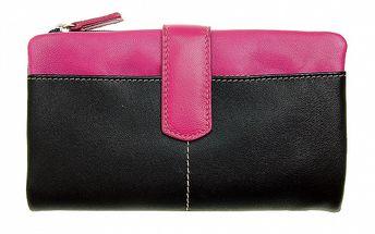 Dámská velká černo-růžová peněženka Puntotres