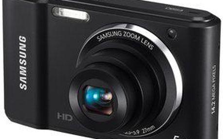 """Kompaktní digitální fotoaparát Samsung ES90 s rozlišením 14,2 MPx, 5x optickým zoomem a 2,7"""" LCD displejem."""