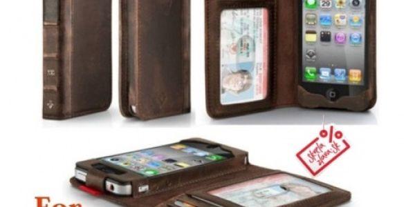 Luxusný kožený Retro Book obal pre iPhone 5, ktorý chráni Váš telefón a zároveň do neho môžete vložiť napr. vodičský preukaz, kreditnú kartu alebo peniaze.