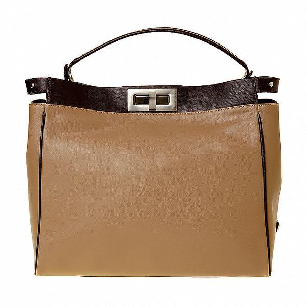 Dámska svetlo hnedá kožená kabelka Puntotres s tmavými detailami