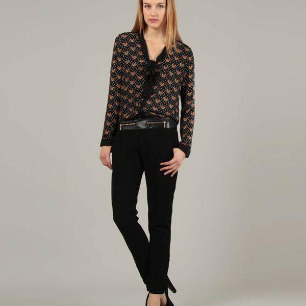 Dámské černé kalhoty Jubylee s koženkovým pasem a zipy