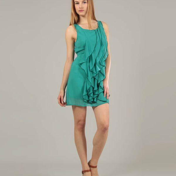 Dámske zelené šaty Jubylee s volánmi