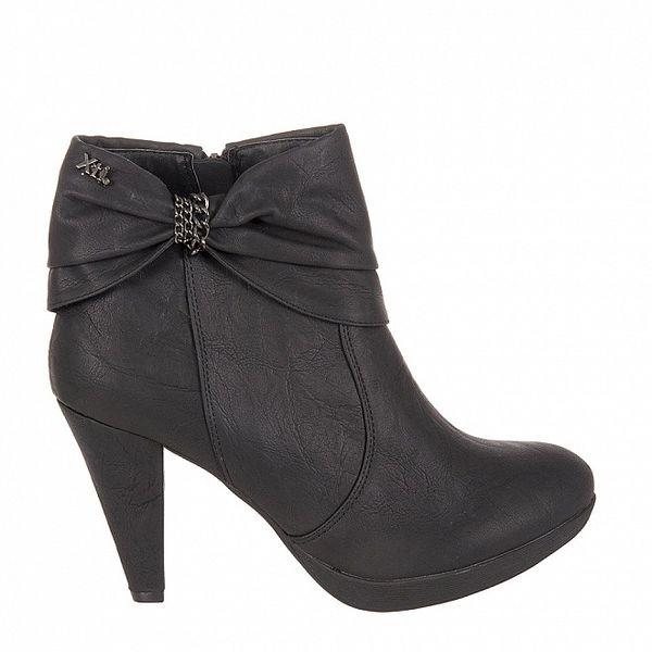 Dámske čierne kotníkové topánky Xti s mašľou