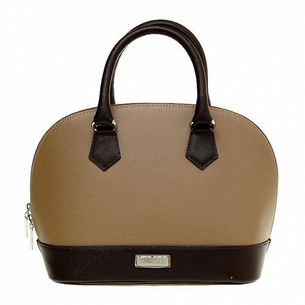 Dámská světle hnědá kabelka Puntotres s tmavě hnědými detaily