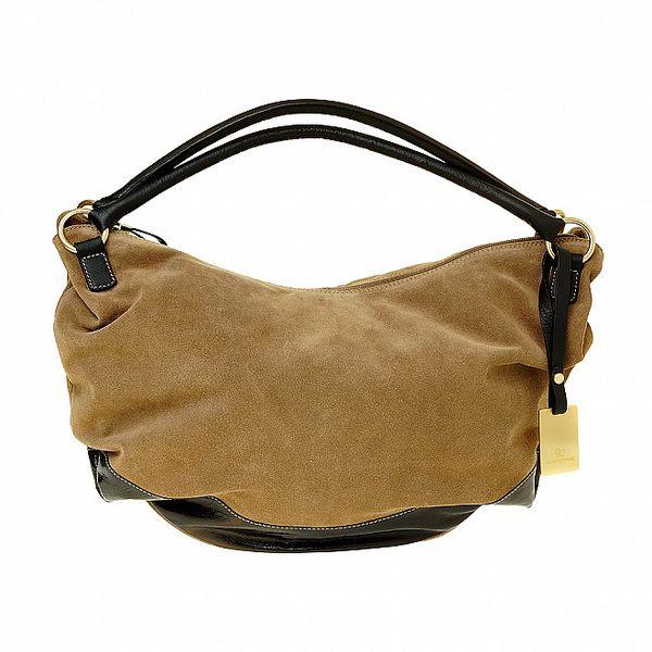 Dámska hnedá semišová kabelka Puntotres