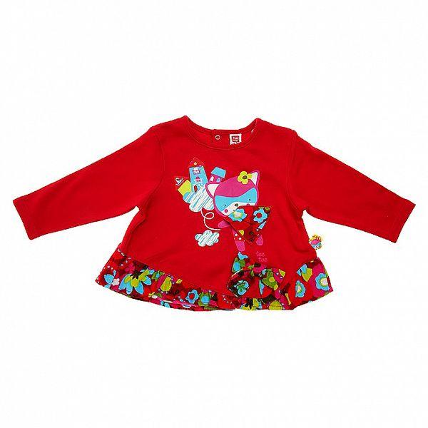 Detské červené tričko Tuc Tuc s mačičkou a farebným volánom