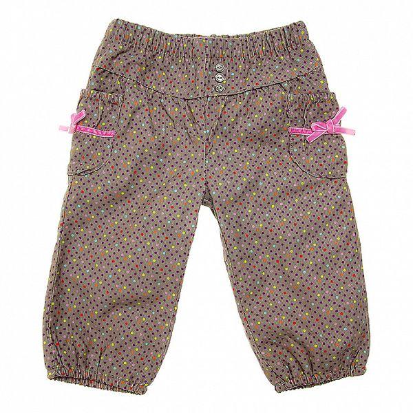 Detské šedé menčestrové nohavičky tuc Tuc s farebnými bodkami