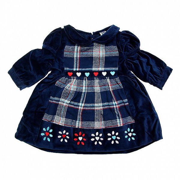 Dětské tmavě modré sametové šatičky Tuc Tuc s kostkovaným vzorem