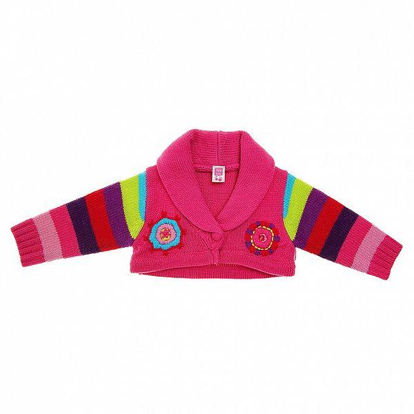 Dětský růžový svetřík Tuc Tuc s barevnými proužky
