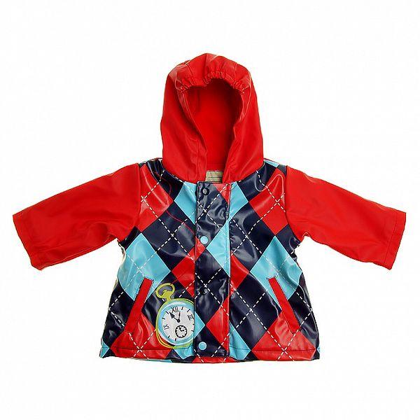 Detská červená károvaná pláštěnka Tuc Tuc s vnútorným fleecom