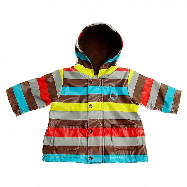 Detská hnedá prúžkovaná pláštěnka Tuc Tuc s vnútorným fleecom