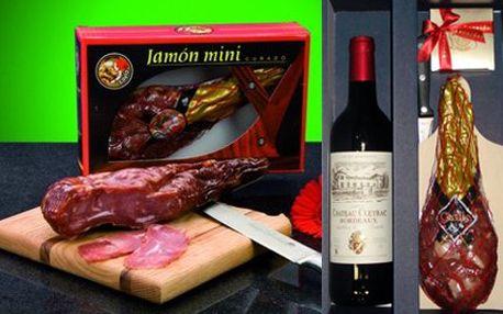 Španělská šunka Jamón, víno Bordeaux a belgické pralinky!
