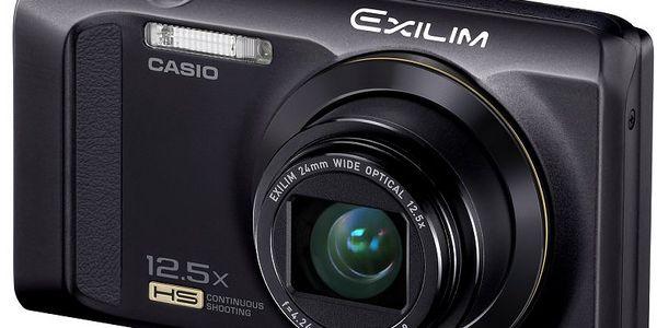 Fotoaparát Casio EXILIM Zoom EX-ZR300 s12,5× optickým zoomem a mechanickým stabilizátorem obrazu.