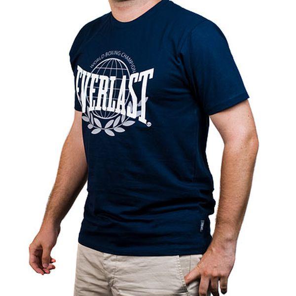 Modré pánské tričko s bílým nápisem Everlast