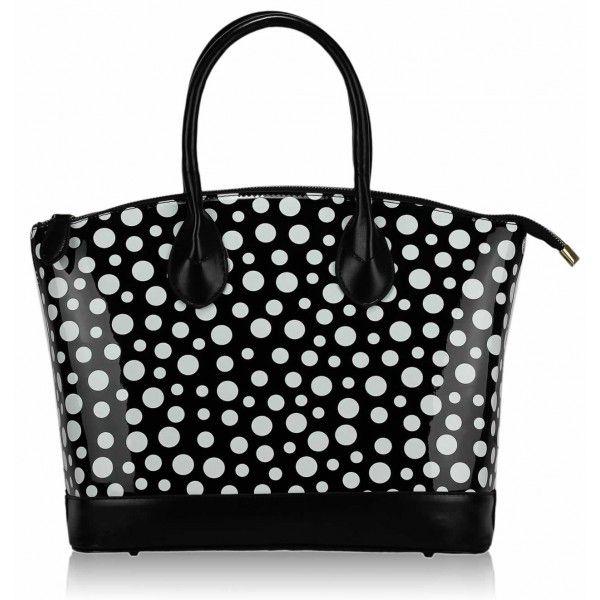 Puntíková módní kabelka 0282 černá s francouzským šarmem