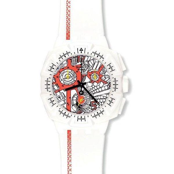 Bílé pánské sportovní hodinky SWATCH Plastic Street Map Flash SUIW411