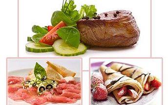 Tříchodové menu PRO DVA: 2x Carpaccio, steaky a palačinky!