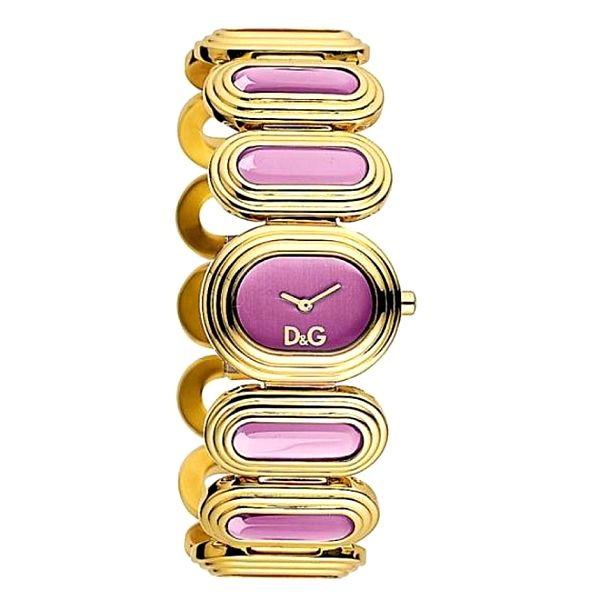 Dámské zlaté ocelové hodinky Dolce & Gabbana s fialovými kameny