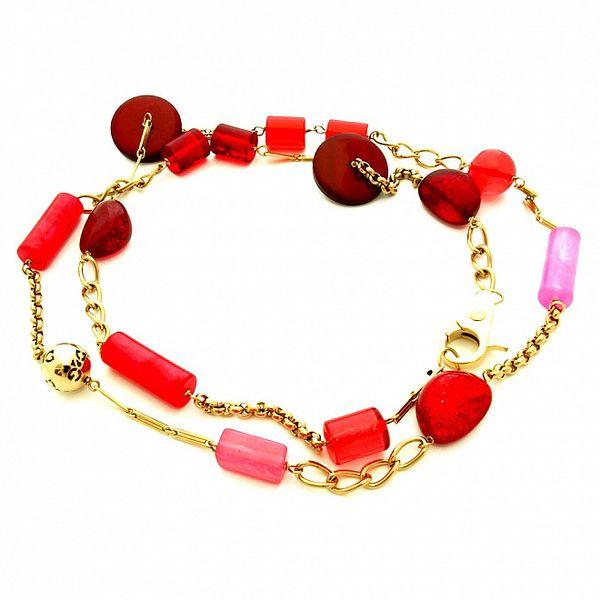 Dámský zlatý ocelový náhrdelník Dolce & Gabbana s červenými kamínky