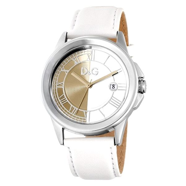 Dámske oceľové hodinky Dolce & Gabbana s bielym koženým remienkom