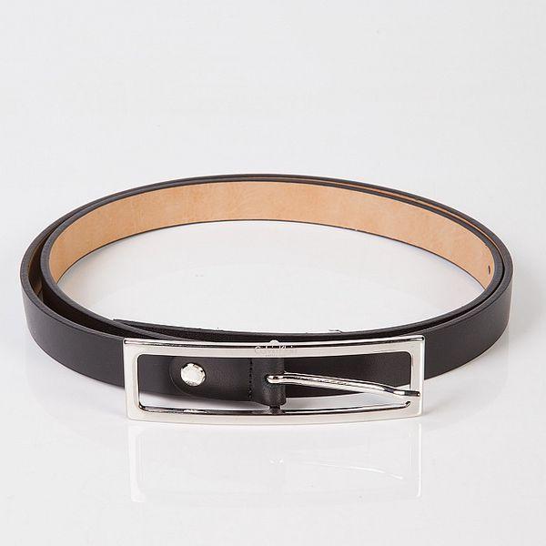 Dámský černý úzký kožený pásek Calvin Klein